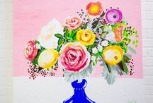 Floral Art by Megan Carty / Whimsical and colorful floral paintings by Megan Carty that will bring the HAPPY to your cozy and stylish home.