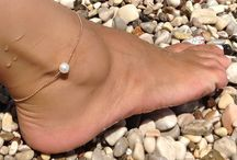 lovely anklets / anklets made of 925 sterling silver and semi-precious stones