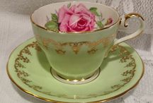 Vintage tea cup and coffee