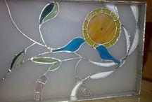 witraż zegar/ stained glass clock