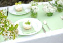 Colour Schemes: Green Wedding Table Colour Scheme / Ideas for wedding tables and accessories following a green colour scheme.