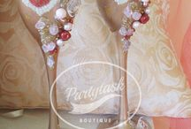 Royal handmade champagne wedding glasses