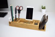 Wooden Desk Organisers / www.beamdesigns.co.uk - Beautiful chunky oak desk organisers, hand made in our workshop in the North of England. Our desk tidies can have your own personalised name or message added to create that special sentimental gift.