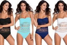 Swimsuits / Fashionable styles of swimsuits such as bikini, monokini, tankini or one-piece swimsuits.