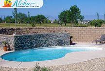 Kidney Pools from Aloha Fiberglass Pools / Kidney shaped swimming pools from Aloha Fiberglass Pools.