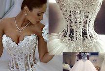 Wedding Dresses - Princess / Drop Waist, Layered, Ruffles, Lace, Elegant, Dazzling Ball Gowns & A Line