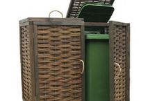 Garden Storage / Tidying up the garden: Natural privacy screens & borders, willow and hazel fencing, lovely wheelie bin storage units