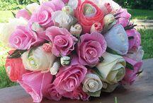 Crepe Paper Bride Wedding Bouquets