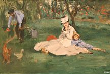 The Monet Family / In the late 1860s, Édouard Manet was Claude Monet's hero. By 1874, they had become friends and Manet came under the sway of Monet's approach to painting quickly, out of doors. This portrait of the Monet family—Camille Monet and Jean, with Claude Monet gardening at the left—is one of Manet's most significant essays in this new style.