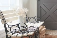 painted rod iron bench