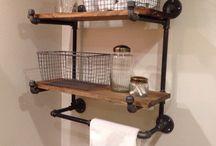 pipe wood shelves