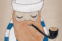De l'eau et des capitaines...All the nice girls love the sailor .. / Un marin dans une piscine