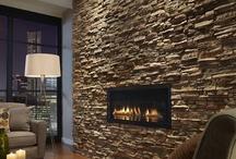 Stone fireplac