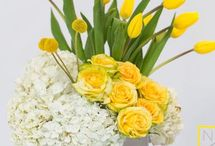 Yellow flowers and wreaths