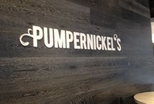 Pumpernickel's Signage / Signage produced and installed at Pumpernickel's by Burry Signs Designed by Sching at Munn Design