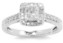 Kobelli 1 1/5 cttw Round and Princess-Cut Diamond Engagement Ring