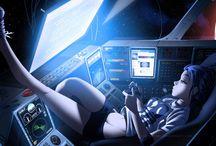 Hightech girls robots space