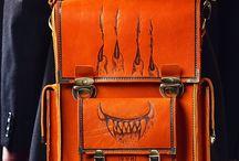 Men's vintage handmade messenger bag, pyrographied Chimeras №1