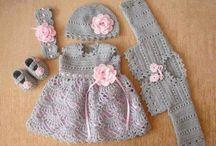 Chrochet baby dress, shoes cardican and headband