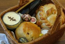 Orthodox Easter or Pascha / Collection of traditional Eastern Orthodox and Russian Pascha food, drinks, and gifts