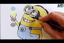 Vídeos Infantiles / aprender los colores colorear dibujo que reacciona, hamblan, ríen y se mueven