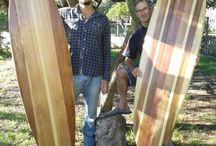Wood surfboard courses / Pictures from our courses in which people build their own hollow wood surfboards.