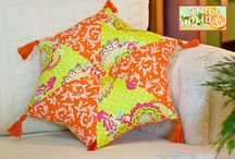 Fabric pillows and cushions