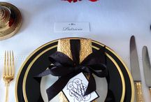 Black red and gold wedding