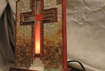 mosaic  / lamp with mosaic cross  the lamp and made ​​with the pieces of marble and wood.