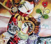 Galerie ce lien qui nous unit / Tableaux réalisés : technique mixte, acrylique et collage.