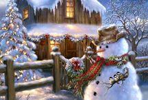 kerstschilderij met lampjes erachter