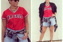 Angels in the Outfield / Thrifted Angels jersey $8.00 Thrifted crinkle leather jacket $20.00 Tommy Hillfiger jeans made into shorts $1.99 Aldo pumps