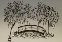 Wanddekoration Metall Baum Mit Brucke