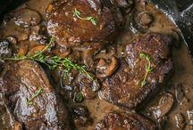 Mushroom sauce steak
