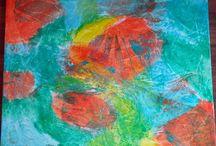 Meine Werke / Ich male.  Meine Bilder entstehen mit Acrylfarben, meist auf gespannter Leinwand.  Blumen und Landschaften, Spachtelarbeiten und abstrakte Werke.  Eines haben sie gemeinsam: Lebensfreudefarben.