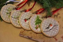 Новогодний декор / Новогодние украшения, handmade, вышивка, ёлочные украшения