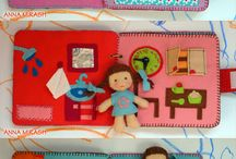 felt doll and book