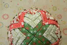 quilted, fabric, ribbon ornaments, eggs, etc
