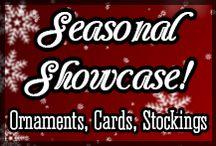 Seasonal Sports Showcase! / Original Christmas cards, ornaments and Christmas stockings, featuring hockey, lacrosse, soccer, field hockey, baseball and softball designs!