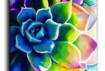 Barevné květinové malovaná plátna