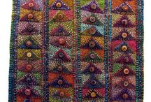 Morna Crites Moore flying geese from recycled sweaters
