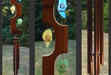 Glass Wind Chimes / Glass wind chimes, with stained glass, fused glass or even recycled (beach glass, upcycled bottles) elements by fellow glass artists.