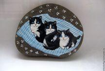 malované kamínky-cats