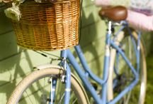 Blue bicycle.