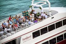 SOLARIS Sky Deck for Destin Weddings / Enjoy an aerial, birds eye view of what an amazing experience it is to get married ON the water on the SOLARIS yacht's sky deck. Unlimited views of Destin Florida and absolute privacy.