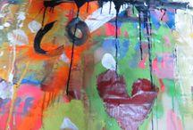 """EXPRESIONISMO ABSTRACTO / Selección de fragmentos pertenecientes a las pinturas echas por alumnos y alumnas de 3 de la ESO del IES """"La Eria"""" en Oviedo"""