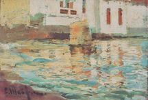 Cadaqués. Es Poal. / Eliseo Meifrén Roig. Pinturas al óleo desde Es Poal, Cadaqués.