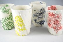 handmade ceramic cups with hand printed silkscreens by Elycia Camille / Ceramic Drinking Cup, Juice Cup, Pottery Cup, clay pottery cup, ready to ship, ceramic tumbler, bridal shower gift, house warming gift, gift for her, kitchen decor