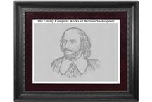 Literature Text Posters / The Utterly Complete Works of Shakespeare Poster by ExaTextPosters.  It displays All of William Shakespeare's works in a poster only 18 x 24 inches in area.  While there are posters displaying a single play, this poster displays the full text of All of the bard's plays and sonnets.