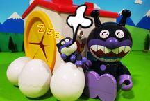 アンパンマンおもちゃアニメ❤手探りBOXと居眠りバイキンマン!Anpanman Surprise Eggs